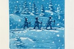 Snøjenter Etsning (20x20 cm) kr 1400 ur
