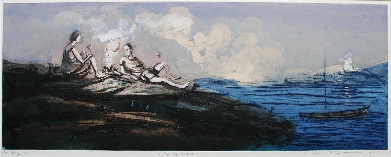Baal paa skjaeret Etsning 30x79 cm 3500 ur