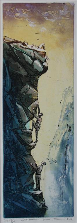 Fjellets erobrere Etsning 59,5x20 cm 1900 ur