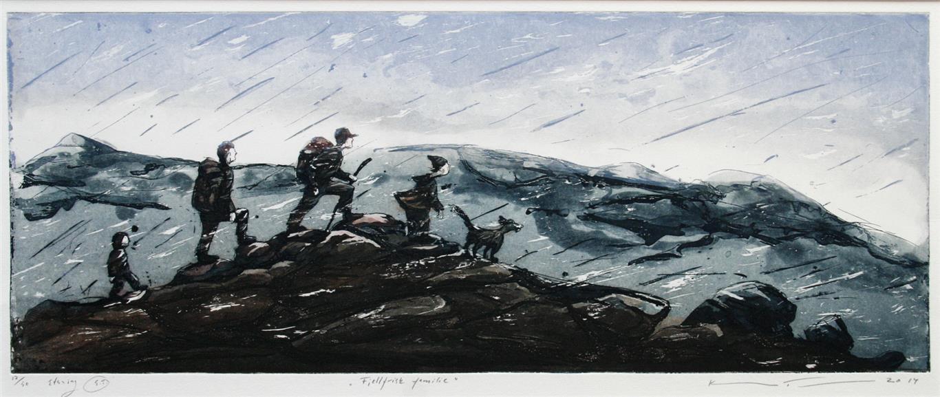 Fjellfrisk familie Etsning 22x56,5 cm 2000 ur