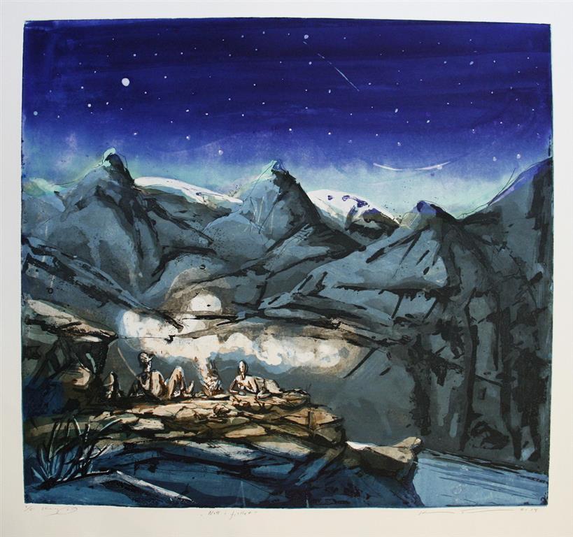 Natt i fjellet Etsning 54,5x59,5 cm 3000 ur