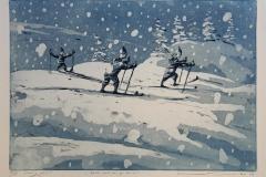 Foedt med ski paa beina Etsning 27,5x39,5 cm 1700 ur