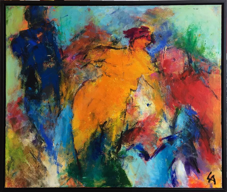 Møte Akrylmaleri (55x65 cm) kr 6500 mr