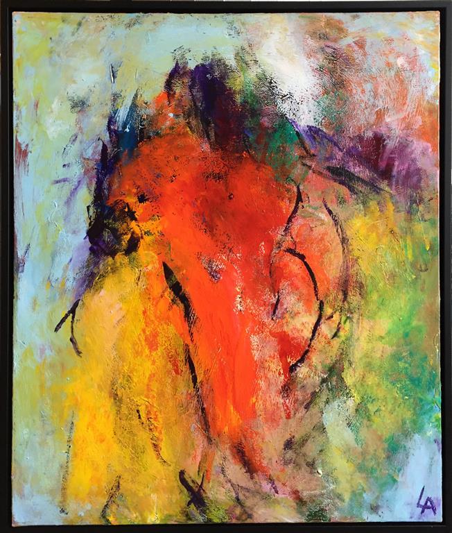 Rød rygg Akrylmaleri (65x55 cm) kr 6500 mr