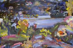 Hoes-traer med landskaps-engel Oljemaleri 50x60