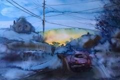 Daggry i Drammen Akvarell (70x100 cm) kr 9000 ur
