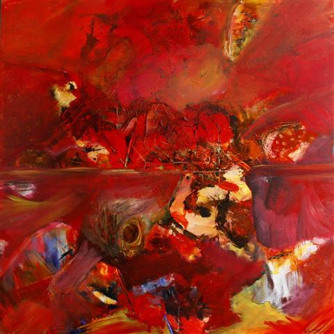 Paa opdagelse Akrylmaleri 130x139 cm 15000,-kr u.r.