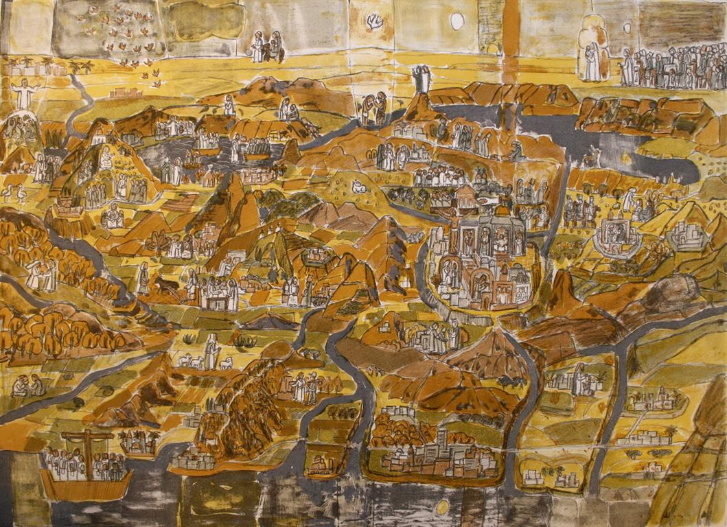Israel Litografi 55x76 cm 2500 ur