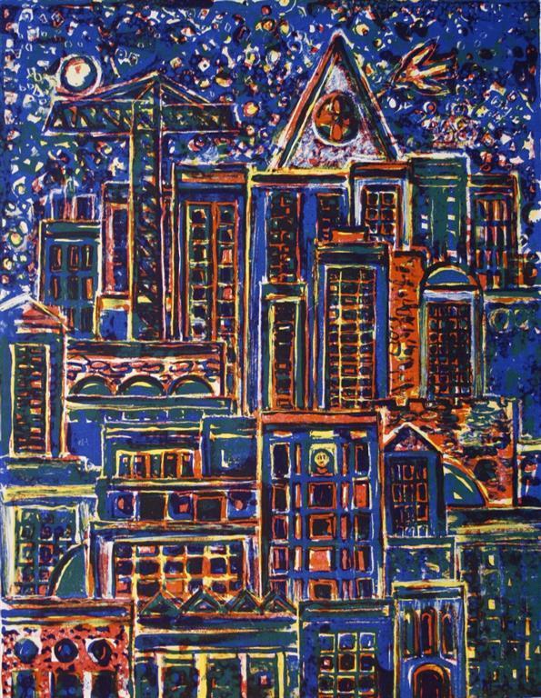 Storby Litografi 44x34 cm 1400 ur