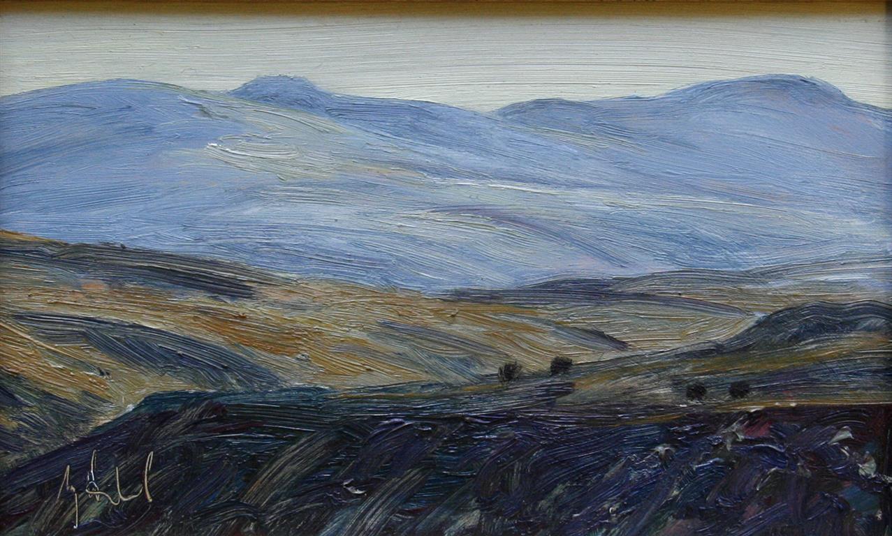 Moskus, Svanaadalen Oljemaleri 16x26 cm 4000 mr