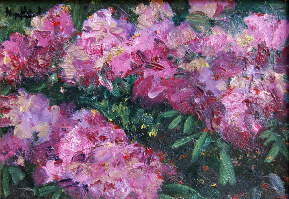Rhododendron Oljemaleri 16x23 cm 2600 mr
