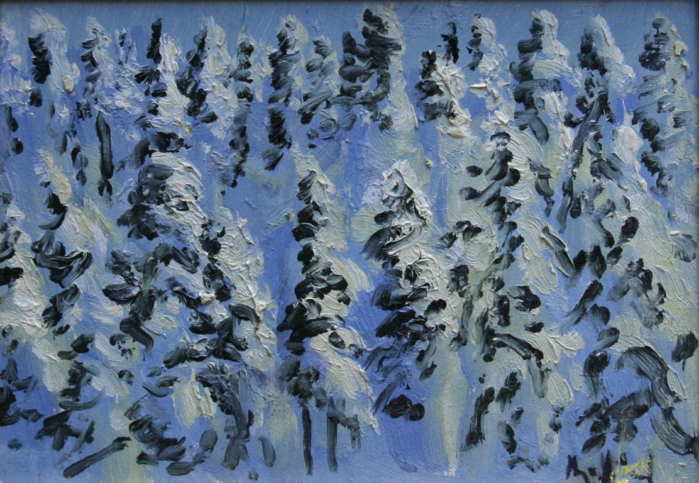 Snoetungetraer i Oestmarka Oljemaleri 18x26 cm 2600 mr