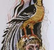 Dame med fugl Litografi (35x13,5 cm) kr 3000 ur