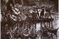 Dans på brygga Tresnitt (40x30 cm) kr 4000 ur