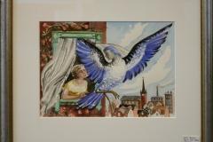 Fløy en liten påfugl Akvarell (23x31 cm) kr 8000 mr