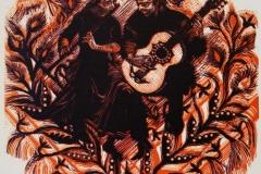 Fløyte og gitar Tresnitt (40x35 cm) kr 5000 ur