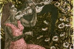 Spill i blomstereng Tresnitt (45,5x28 cm) kr 5500 ur