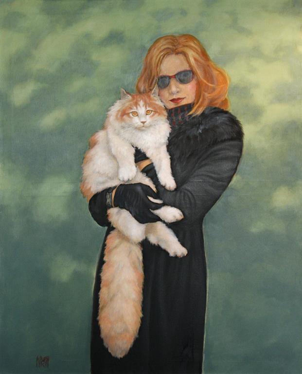Catwoman Oljemaleri 110x90 cm 25000 ur