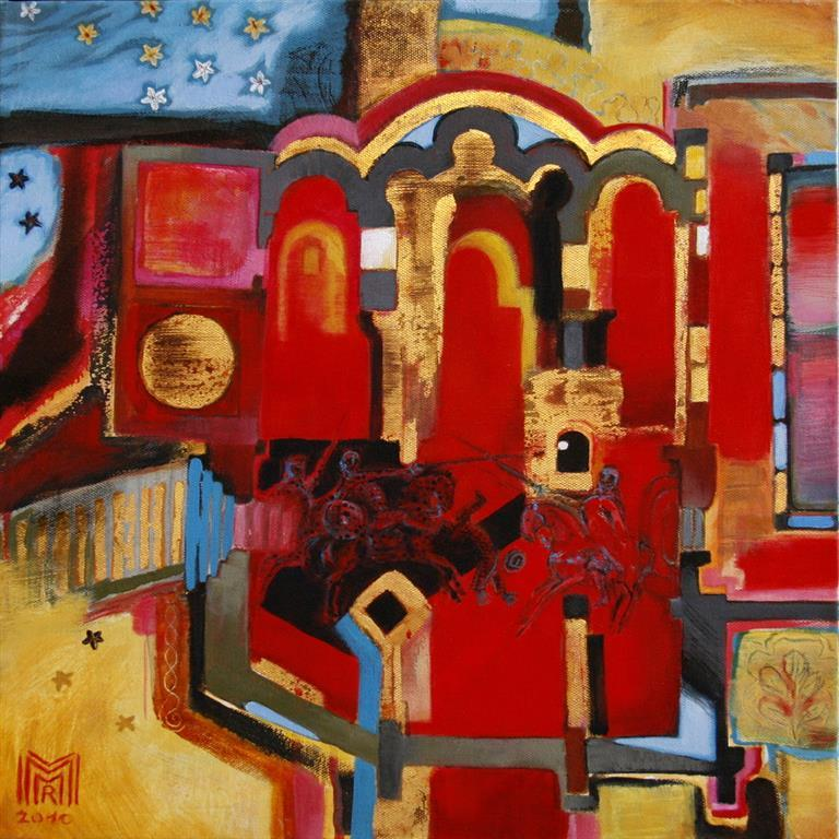 Church on the Camino Santiago Acryl, olje, blattgold 40x40 cm 6000 ur