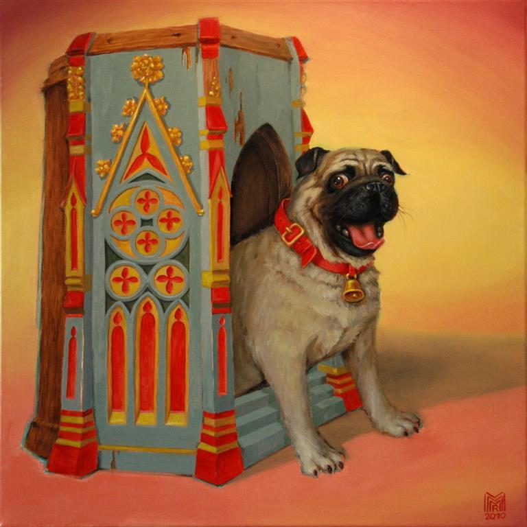 Mops in his Villa Oljemaleri 60x60 cm 6000 ur