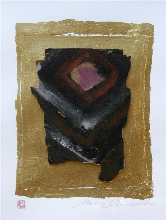 Rune, Eisenchlorid Acryl auf papir, blattgold, rahmen 32x26 cm 2500 ur