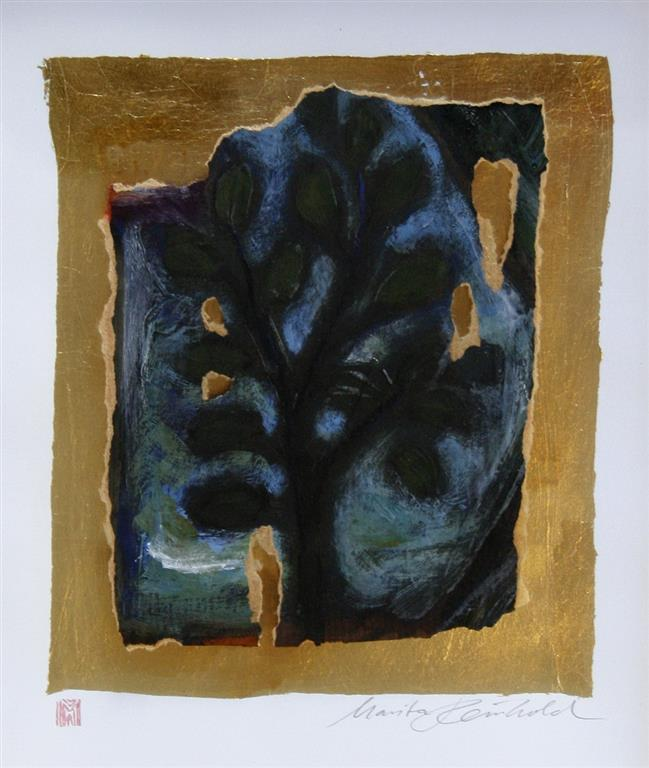 Runenbaum Acryl auf papir, blattgold, rahmen 32x26 cm 2500 ur