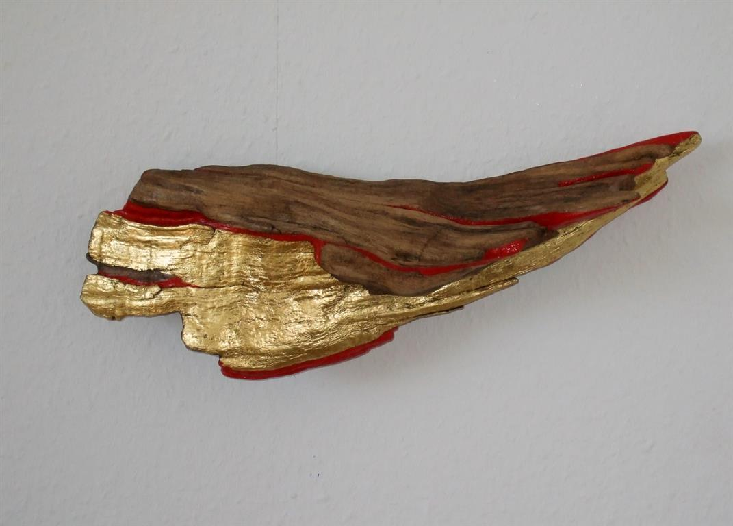 The Wing Driftwood, blattgold, colour, keramikk, blekk 6000