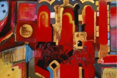 Church on the Camino Santiago Acryl, olje, blattgold 40x40 cm 6000 ur