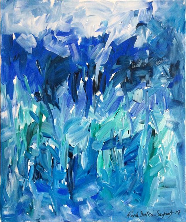 Abstraksjon blå Akrylmaleri (60x50 cm) kr 6100 ur