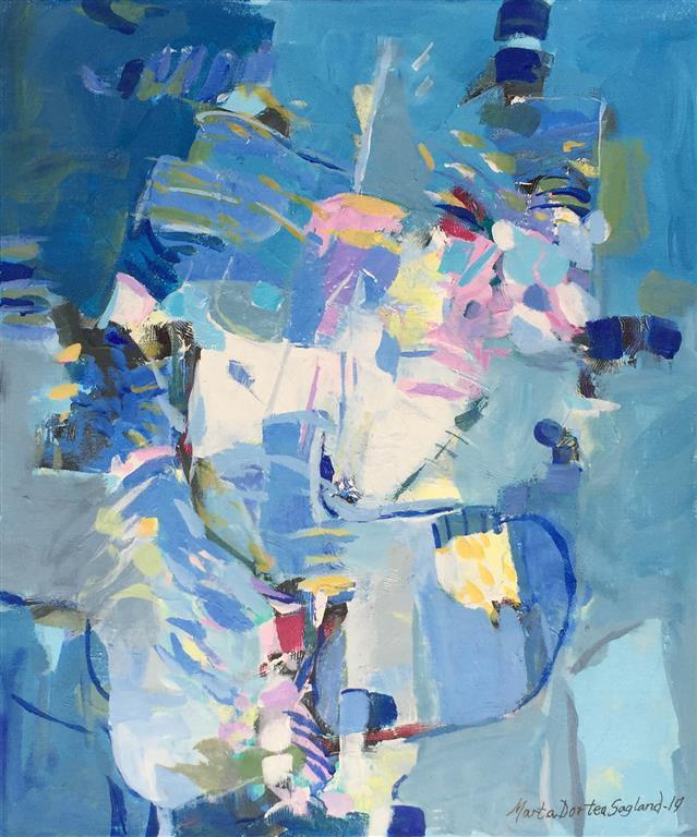 Abstraksjon i blått 19 Akrylmaleri (60x50 cm) kr 6100 ur