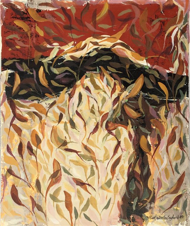 Bladfall 19 Akrylmaleri(60x50 cm) kr 6500 ur