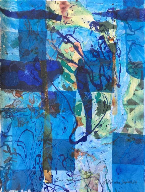 Blue Rapsody -20 Mixed media (52x39 cm) kr 5000 ur