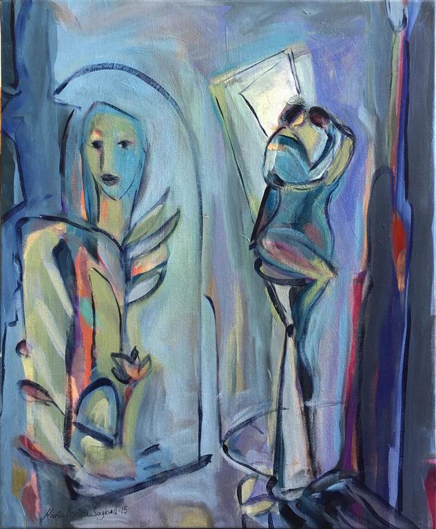 Kom i min favn Akrylmaleri (60x50 cm) kr 6500 ur