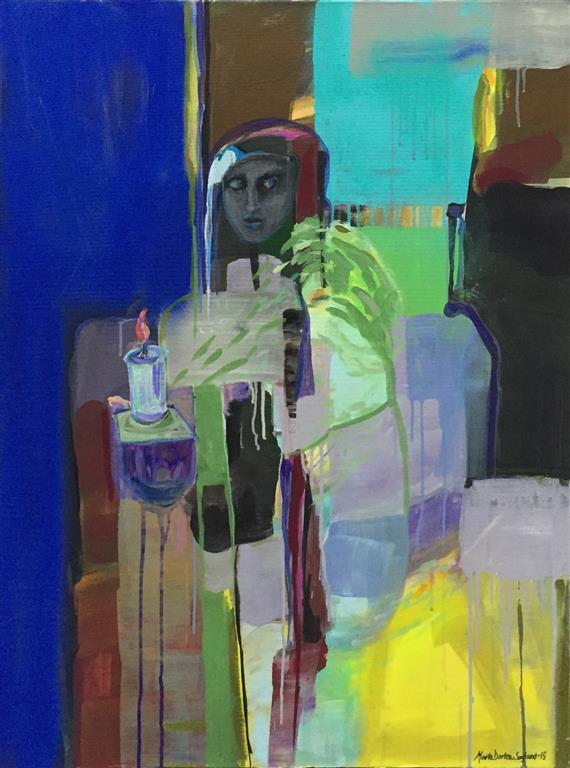 Tenn et lys i mørke Akrylmaleri (100x80) kr 15000 ur
