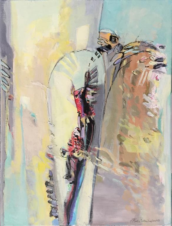 Til våren Akrylmaleri (80x60 cm) kr 9500 ur