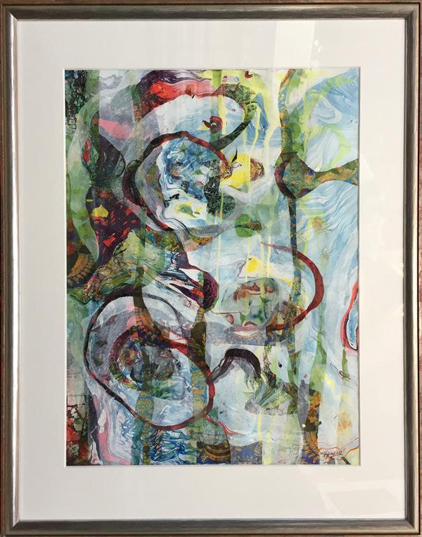 Ut i min hage 12 Akryl og collage (63x48 cm) kr 7300 mr