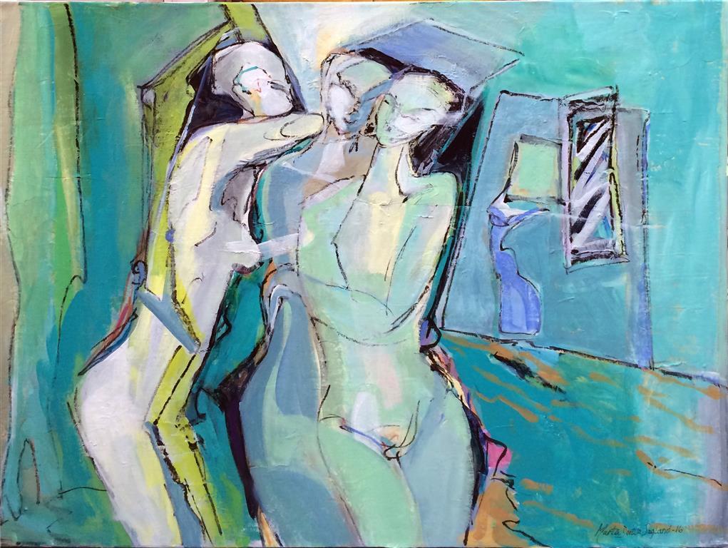 De tre gratier Akrylmaleri 60x80 cm kr 9000 ur