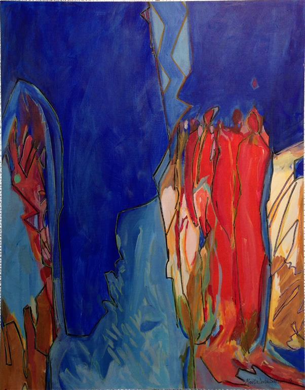 Samhold Akrylmaleri 60x50 cm kr 7000 ur