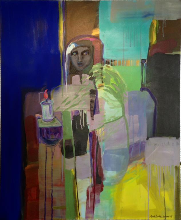 Tenn et lys i morke Akrylmaleri 100x80 cm kr 13000 ur
