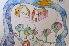 Home sweet home I Akvarell (23x30 cm) kr 5000 ur