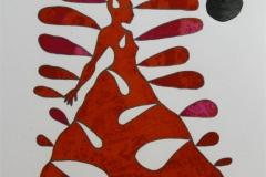 Red Byomyth Lady Litografi (25x23 cm) kr 3000 ur