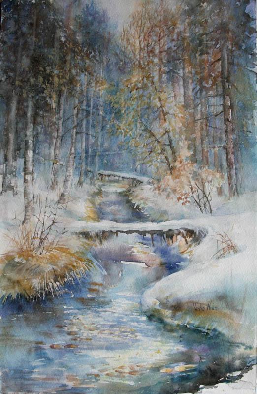 Vinterbekk Akvarell 57x37cm 5000,-u.r.