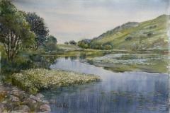 Gramstad, mot Dalsnuten Akvarell 38x57cm 6000,-u.r