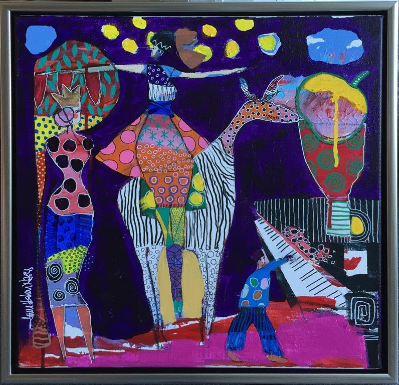 Dancing with another stranger Akryl på lerret (40x40 cm) kr 4500 mr