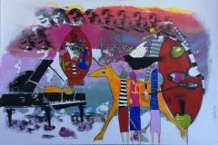Sang er sang og hjort er hjort Akryl på lerret (100x150 cm) kr 16000 ur