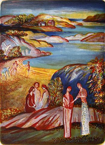 Sommerlys ved lilleskagen, Tjoeme Litografi 41x30 cm 1350,-kr u.r.