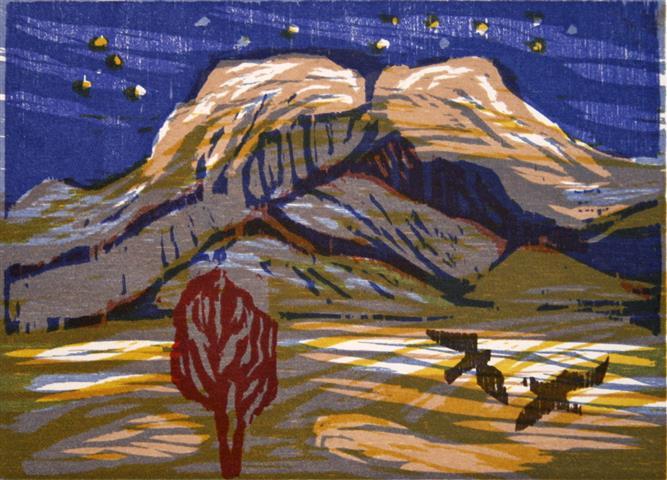 Vinternatt ved Rondeslot Tresnitt 15x21 cm 650,-kr u.r.