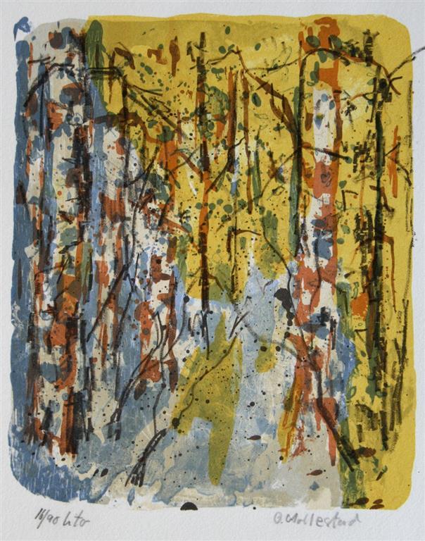 Gul skog Litografi 23x19 cm 500 ur
