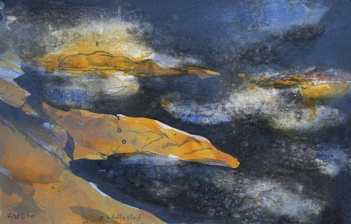 Solnedgang Litografi 25x39 cm 800 ur