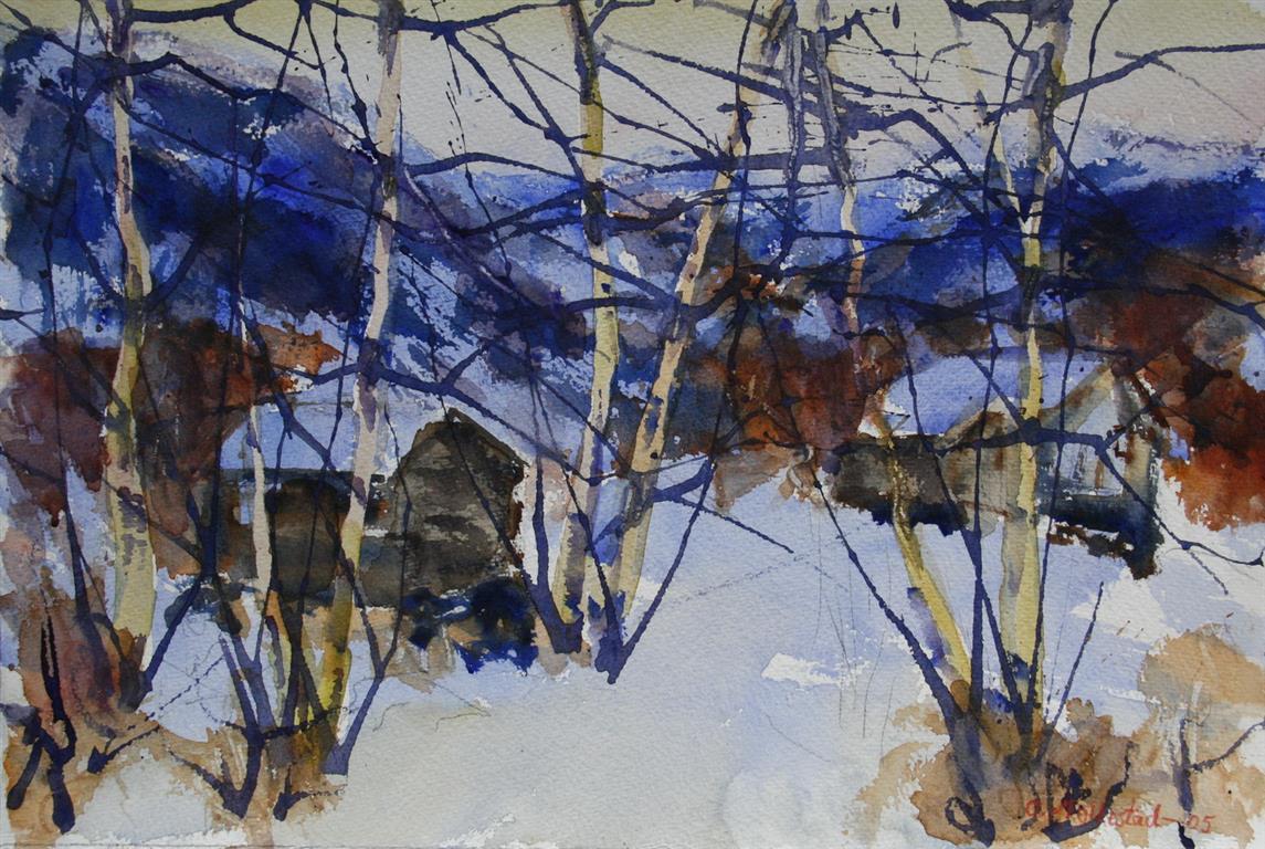 Vinter 10 Akvarell 38x56 cm 4000 ur
